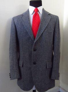 Vintage Pendleton Gray Tweed Sport Coat Herringbone Elbow pads Size 44L Long #Pendleton #TwoButton