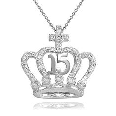 CZStudded Crown Cross Sweet 15 Aos Quinceanera Necklace in 10k White Gold 18 * Read more at the image link. (This is an affiliate link) #FashionNecklaces