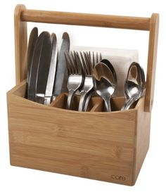 """CTLH-355 Features: -FSC certified sustainable bamboo. -Perfect for picnicks, counter storage, or other household organization. -Wipe clean. Product Type: -Flatware Caddy. Material: -Bamboo. Color: -Natural. Dimensions: Overall Height - Top to Bottom: -6.5"""". Overall Width - Side to Side: -9"""". Overall Depth - Front to Back: -4.8"""". Overall Product Weight: -1.77 lbs."""