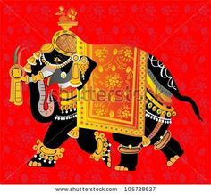 stock vector : Decorated indian elephant