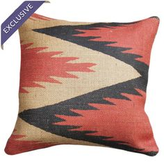 Burlap pillow with a chevron motif. Handmade in the USA.   Product: PillowConstruction Material: BurlapCol...