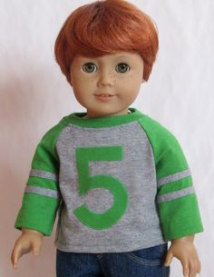 American Girl Boy Doll Clothes  Numbered Baseball by Minipparel, $14.00