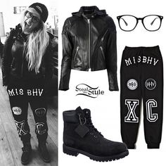 Ellie Goulding just posted a new instagram picture wearing a pair of MISBHV Nineties Sweatpants ($100.00) with her Acne Studios Magna Hooded Leather Biker Jacket ($1,950.00), black boots like the Timberland Men's 6″ Premium Boot ($137.02 – $280.99), and glasses like the Urban Outfitters Granger Readers ($16.00)