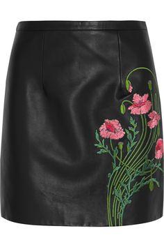 Christopher Kane Floral-embroidered leather mini skirt NET-A-PORTER.COM