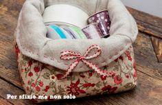 Cucito creativo - porta cucito (o porta pane ...o svuota tasche?!) in lino e tessuto americano