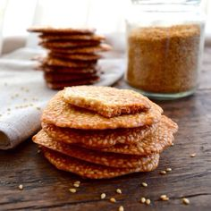 Sweet Sesame Crisps Try baking a batch of these delicious and unusual little crisps — an authentic alternative to takeout's run-of-the-mill fortune cookies. Macarons, Tea Cakes, Biscotti, Wok Of Life, Sesame, Bbq Pork, Pork Belly, Shortbread, Chinese Food