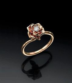 Flower Engagement Ring, Rose Ring, Flower Ring Rose 14K Gold, Anniversary Gift For Her, Custom, Solitaire Engagement Ring, 0.10 carat total by ybsoulj on Etsy https://www.etsy.com/listing/239177052/flower-engagement-ring-rose-ring-flower