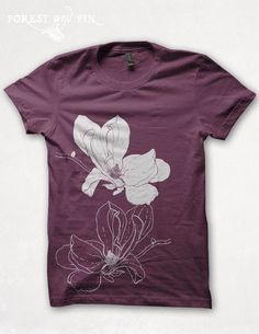 new concept 627c6 a6c3d Magnolia Blossom on Bordeaux Womens Size Chart, Horse T Shirts, Light  Jacket, Alternative