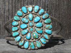 HUGE Vintage Navajo Sterling Rosette Petit Point Cuff  Turquoise Bracelet