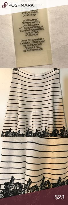 EUC- Soft Sweater Skirt- Flared Very soft striped sweater skirt with floral design. Note the back of skirt at waist line could use a little stitching. Over wise it is in perfect condition. No sags, rips or fading. Skirts A-Line or Full