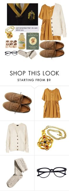 """Hufflepuff"" by hannaczerny ❤ liked on Polyvore featuring Ollio, Steven Alan, Topshop, Claire Deve, H&M, harrypotter and Hufflepuff"