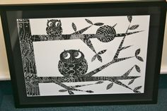 """2nd grade, """"Put a Bird on It"""" – using paper, black ink, and plastic block, each 2nd grader beautifully crafted a pattern block print."""