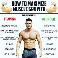 How to Maximize Muscle Growth by @musclemonsters _ Some people say fitness is 80% nutrition and 20% training... its complete dog shit. If youre looking to maximize muscle growth both training AND nutrition have to be 100% in order. _ Training: Progressive Overload is the main pathway by which we build muscle. If youre getting better (doing more work over time) youll get bigger. We also want to ensure were training each muscle group 2x per week not only do we have evidence that this is super