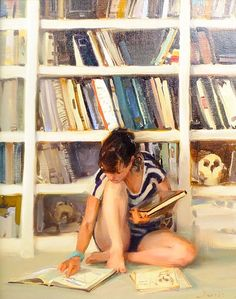 Girl Reading by Kim English Kim English, English Study, Reading Library, Reading Art, Woman Reading, Painting People, Figure Painting, Books To Read For Women, Anatomy Study