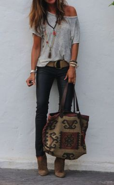 Fashionista style - **** Stitch Fix Spring Summer 2017 inspiration! Loving the adorable boho vibe of this outfit with grey off the shoulder top, chunky accessories and skinny jean! Such a great look! Try S(Off The Shoulder Top) Look Fashion, Autumn Fashion, Womens Fashion, Fashion Trends, Fashion Blogs, Fashion Outfits, Fashion Ideas, Fashion Styles, Fashion Quotes