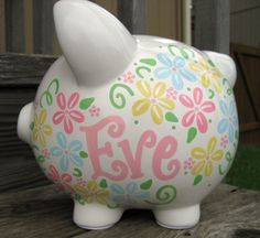 Pretty Flowers Custom Large Piggy Bank by jdavissquared on Etsy, $45.50