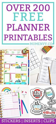 Over 200 FREE Planner printables. Everything you need to customize your planner or create your own. You can print the printables in any size to fit into any planner. Free planner stickers, free planner inserts, free planner clips, and more!