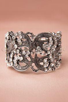 Foxy - Silver Crystal Cuff Bracelet