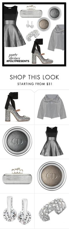 """#PolyPresents: Party Dresses"" by forkelly1 ❤ liked on Polyvore featuring Miu Miu, Christian Dior, Olivia Rubin, Alexander McQueen, Effy Jewelry, contestentry and polyPresents"