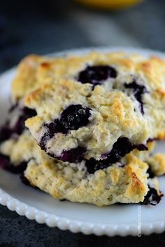 Lemon Blueberry Scones Recipe - Such a great flavor combo in these lovely scones! | ©addapinch.com