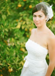 headpiece! Yorba Linda Backyard Wedding