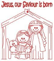 "This free embroidery design from Charming Station is called, ""Jesus, Our Saviour is Born"".  So sweet.  Get this free embroidery design today..."