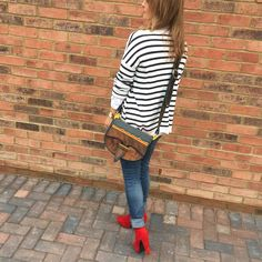 Breton stripes / red platform boots / saddle bag / Carriel Colombiano / artesanias de Colombia