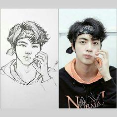 Kpop Drawings, Art Drawings Sketches Simple, Pencil Art Drawings, Fanart Bts, Korean Art, Korean Anime, Dibujos Cute, Bts Chibi, Bts Pictures