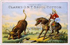 Vintage Ephemera: Trade card, advertising Clark's O.N.T. spool cotton, published between 1875 and 1900