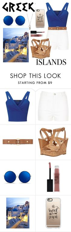"""""""Greek Islands for Me"""" by pumpkinseed112 ❤ liked on Polyvore featuring Miss Selfridge, River Island, Marni, GUESS, Matthew Williamson, Maybelline, Casetify, Red Camel, Blue and beige"""