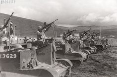 Universal Carrier armoured WW2 vehicles. BREN GUN CARRIERS with Bren LMG and a Boys A/T Rifle for 3 man crew