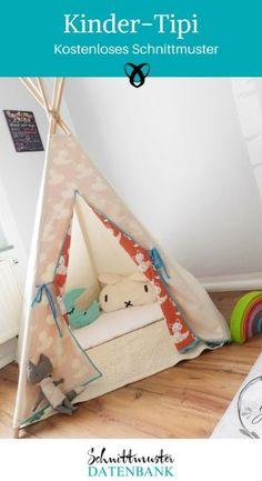 Kinder-Tipi kostenloses Schnittmuster freebook fürs Kinderzimmer Kuschelhöhle Spielzimmer Freebook