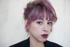 Teased purple hair #CynthiaHS #RoxieDarling #WesSharpton #TonyKelley #MichaelGordon #hairstorystudio #purelyperfect #purplehair #shorthair #teasedup