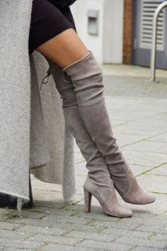 Grey Round Toe High Chunky Over-The-Knee Boots