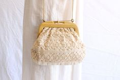 vintage linen crochet bag 70s made in italy by shopiverlee on Etsy