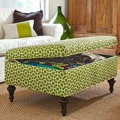 Double the utility of a coffee table ottoman by purchasing a version with under-lid storage to stash blankets, books and other knickknacks.