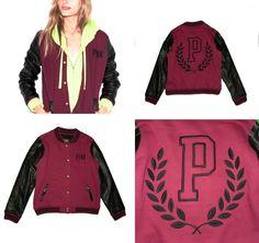 Victoria's Secret Pink Varsity Jacket Long Sleeve Faux Leather  L #VictoriasSecret #TrackJacket