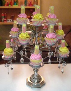 Chandelier turned into a cupcake stand