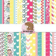 Loja: http://www.elo7.com.br/papel-digital-baby-ii/dp/790360   #scrapbook #papel #baby #chadebebe #cute