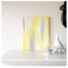 11x14 Canvas Painting- Ikat: Yellow & Grey. $66.00, via Etsy.