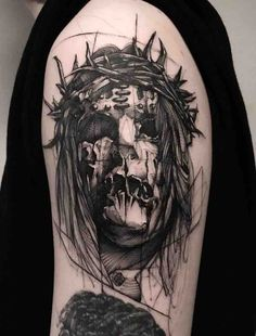 The creepiest of creepy tattoos that will leave you with a feeling on unease. Luna Tattoo, Rock Tattoo, Dark Art Tattoo, Gothic Tattoo, Color Tattoo, Creepy Tattoos, Skull Tattoos, Slipknot Tattoo, Satanic Tattoos