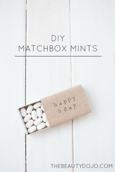 Diy Matchbox Mints. Easy party favors using matchboxes, stamps and kraft paper.