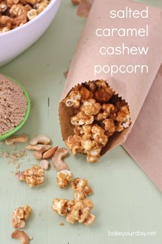 A simple salted caramel sauce is drizzled over popped popcorn and cashews and baked for a fun fall and winter-inspired snack: salted caramel cashew popcorn