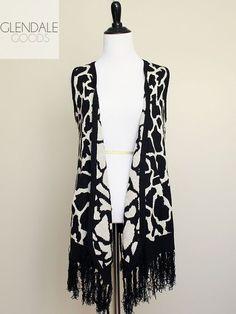 BCBG Animal Print Sweater Vest M Giraffe Fringe Angora Drape Open Front #BCBGMAXAZRIA #animalprint #giraffeprint #angora #sweatervest #fashion #womensfashion