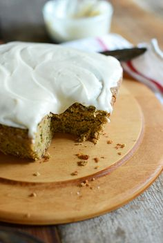 Gluten free zucchini cake with dairy free cream cheese frosting
