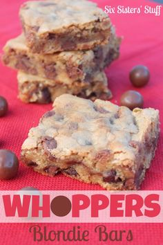 Whoppers Blondie Bars Recipe on MyRecipeMagic.com #blondies #whoppers