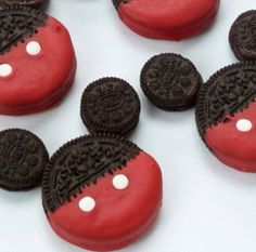 Make mickey cookies using Oreos
