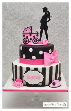 Pink and Black Baby Shower Cake - by SpringBloomCakes @ CakesDecor.com - cake decorating website