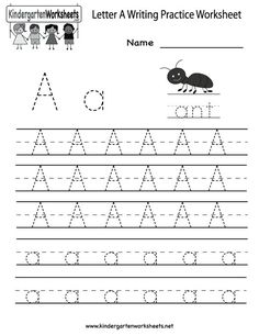 Kindergarten Letter A Writing Practice Worksheet Printable: