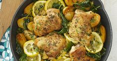 Healthy Recipes This easy one-pan skillet-roasted lemon chicken is perfect for weeknight dinners. Juicy chicken thighs are cooked in the same pan as baby potatoes and kale for a satisfying meal with the added bonus of minimal cleanup. Lemon Chicken Parmesan, Healthy Lemon Chicken Recipe, Heart Healthy Recipes, Chicken And Kale Recipes, Diabetic Chicken Recipes, Lemon Recipes, Simple Recipes, Light Recipes, Chicken Potatoes